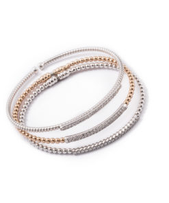 Elegant and beautiful, this diamond bangles in 18k white and pink gold.