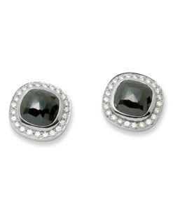 18k white gold earrings with black diamonds surrounded by a halo of small brilliants.