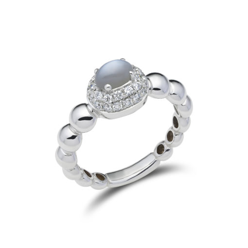 Diamond pavé ring with moonstone