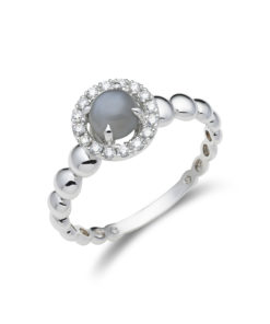Diamanten halo ring met maansteen