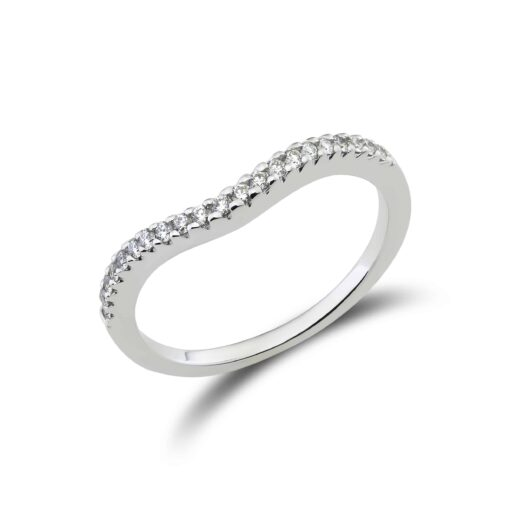 Beautiful diamond mini wave ring in 18k white gold set with small diamonds.