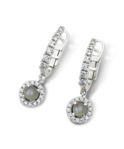 Moonshine halo diamond earrings