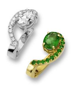 Smaragdové a diamantové náušnice