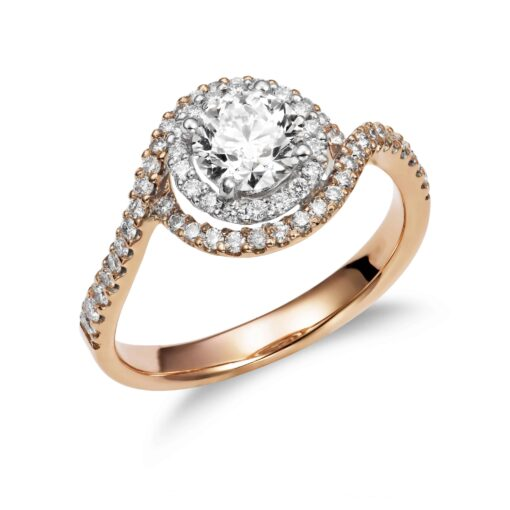 This diamond engagement ring features round diamonds pavé-set in 18k white gold to complement your choice of diamond.