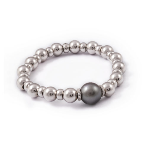 Spring bracelet with grey pearl