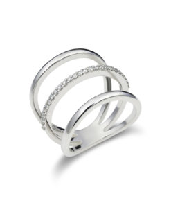 Three line open diamond ring