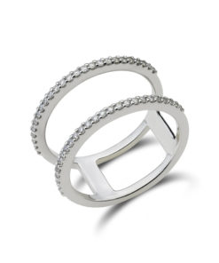 Two line open diamond ring