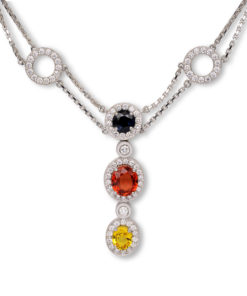 Multi color sapphire and diamond necklace