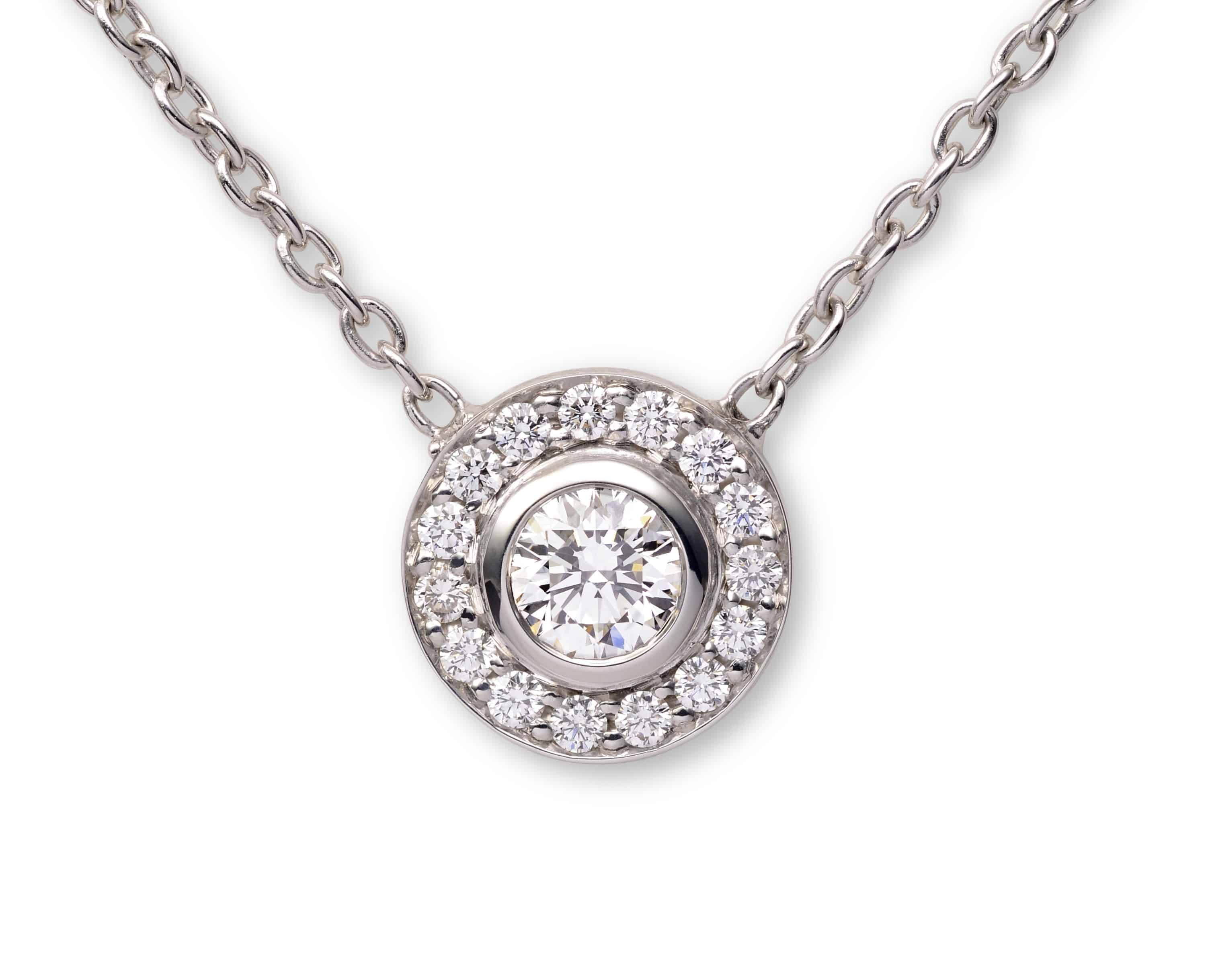 Diamond halo pendant orogem diamond halo pendant aloadofball Gallery