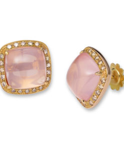 18k pink gold earrings with pink quartz surrounded by a halo of small chocolat brilliants.