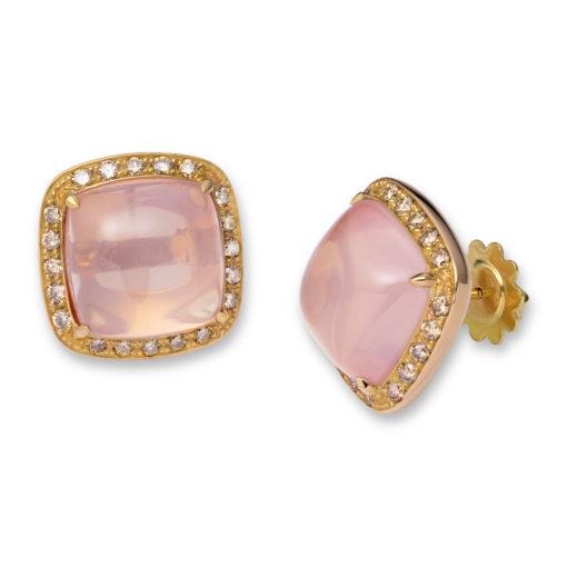 Roze quartz oorbellen met bruine diamant