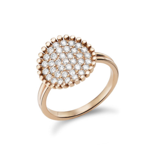 Diamond design ring in pink gold