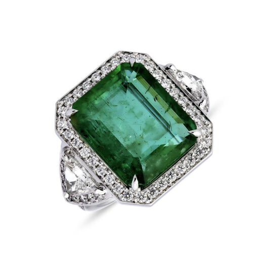 Emerald-cut emerald and diamond triangle-shaped halo ring