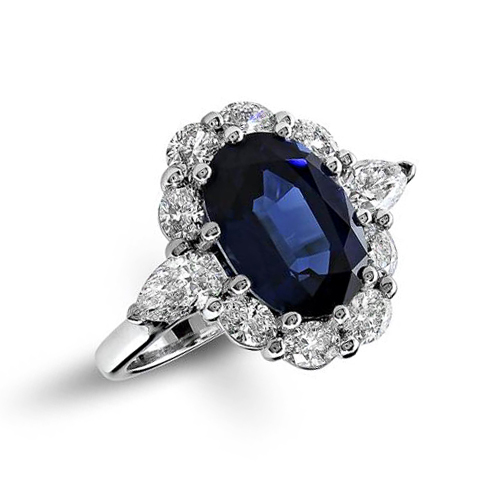 Sapphire and diamond pear-shaped halo ring