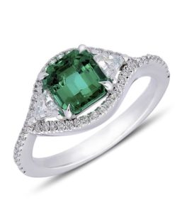 Emerald and diamond triangle-shaped halo ring