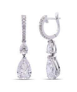 Pearshape diamond drop earrings