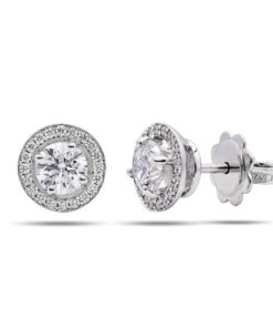 Micropavé halo diamond earrings