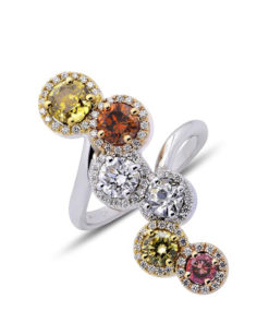 Multi fancy color diamond halo ring