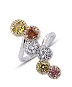 Diamantový prsten halo ve více barvách