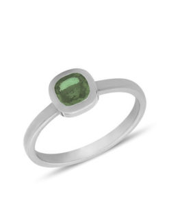 Classic solitaire ring which accentuate the light green sapphire gemstone.