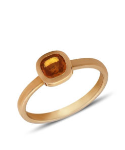 Classic solitaire ring which accentuate the orange sapphire gemstone.