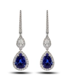 Sapphire and diamond halo drop earrings