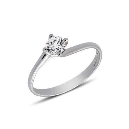 0.19 CARAT TWIST SHANK SOLITAIRE DIAMOND ENGAGEMENT RING