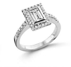 Baguette Cut Halo Diamond Engagement Ring