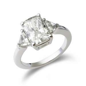 Three-stone cushion-cut diamond engagement ring