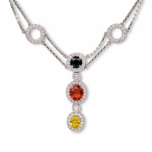 [en:]Multi color sapphire and diamond pendant[/en][nl:]Diamanten en safier collier[/nl]