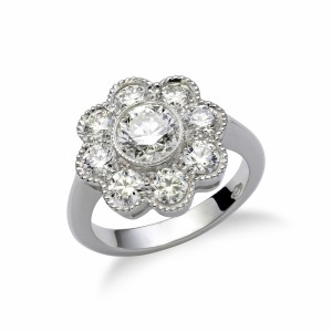 Classic Flower Diamond Engagement Ring