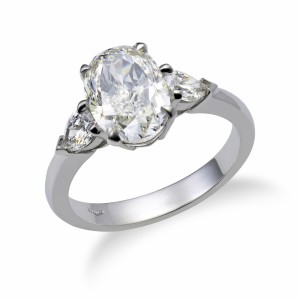 Three-Stone Oval-Cut Diamond Engagement Ring