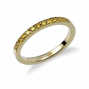 [en:]Yellow diamond pavé weddingring[/en][nl:]Gele diamanten alliance trouwring[/nl]